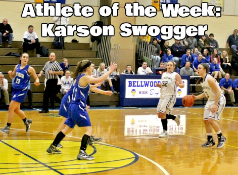 Junior Karson Swogger looking for options on the court.