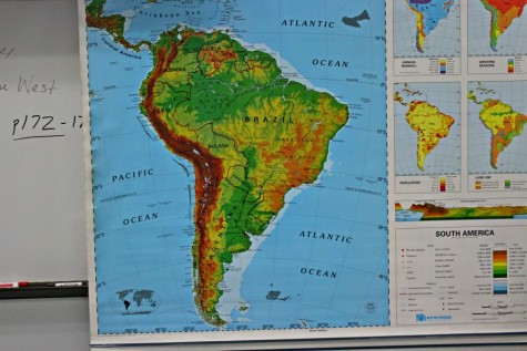 Maps like this are a major part of the work Mr. Andrekovich does with his seventh grade geography students.