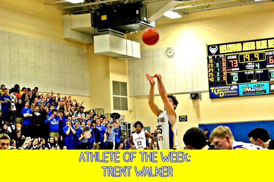 Sophomore+Trent+Walker+taking+one+of+many+foul+shots+of+the+night.