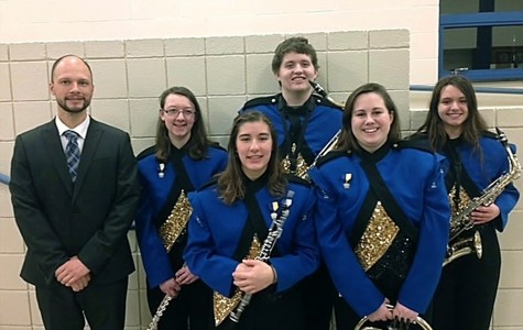 Five band members represented Bellwood-Antis at District 6 chorus. Pictured are: front row (l to r): Sarah Knisely and Kyra Woomer; back row (l to r): Band Director Mr. Pat Sachse, Kaitlyn Farber, Logan Morrison, and Kaitlyn Hamer. Farber, Hamer and Knisely each advanced to rebional band.