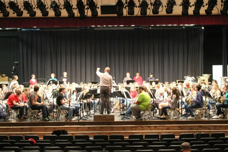 Carter Biggers leads the PMEA District 6 Band in rehearsal Thursday.