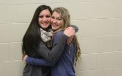 Shayla Branstetter, seen here hugging her buddy Ali Dumin, is this months sensational sophomore.