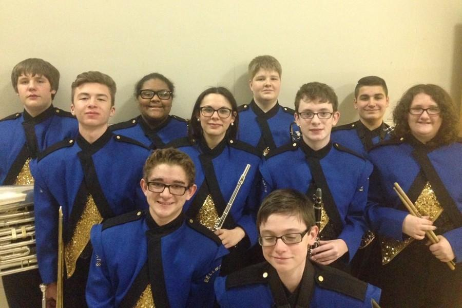 Jr. High County  Band students included: front row (l to r):  Willie Williams and Alex Foose. Second row (l to r): Dominic Faith, Alanna Vaglica, Brendan McCaulley, and Lorden Williams. Back row (l to r): Hunter O'Shell, Shalee Bennett,  John Gummo and Dominic Tonatore.