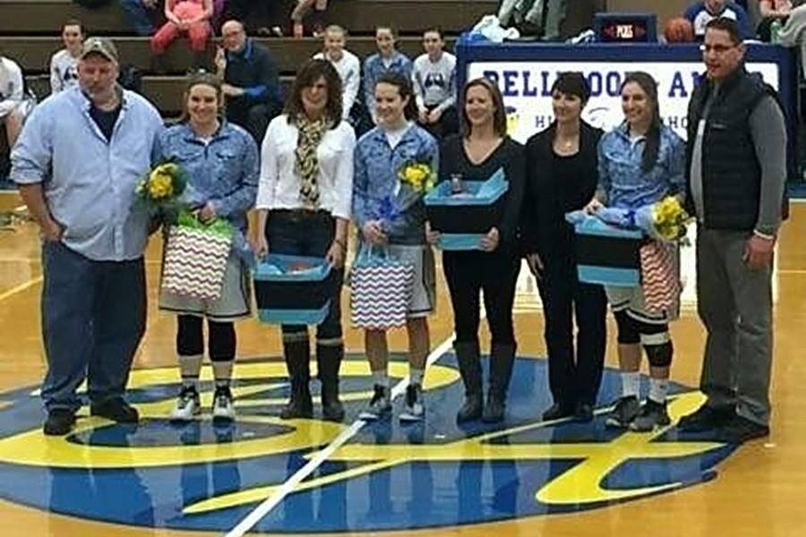 Seniors Caroline Showalter, Sierra Stevens, and Abbey Crider were recognized before B-A's game against Mount Union.