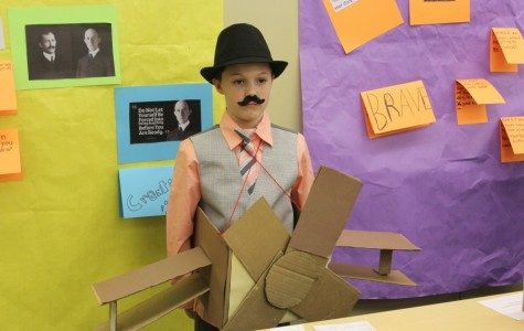Ethan Hoover gave his presentation as one of the Wright Brothers.