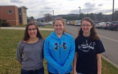 Sarah Knisely, Kyra Woomer, and Katlyn Farber prepare to head to practice at Juniata Valley in preparation for Region III band.