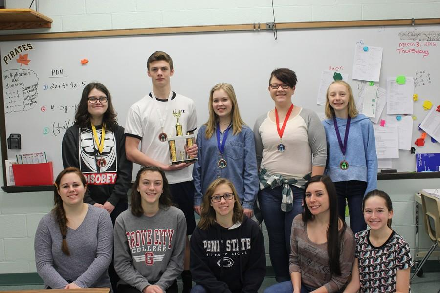 Speech team members who helped bring home a fourth-place team finish from St. Francis yesterday include - front row (l to r): Kyra Woomer, Stephanie Mills, Addison Clemente, Maria McFarland, and Alivia Jacobs; back row (l to r): Kerri Little, Luke Hollingshead, Grace Misera, Alli McCaulley, and Jenna Bartlett.