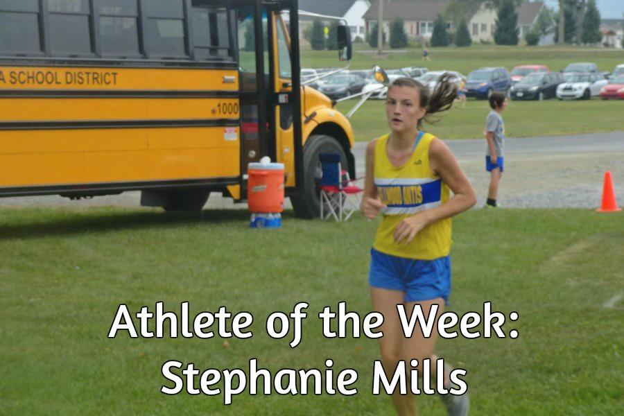 Junior Stephanie Mills running. She is also the athlete of the week for track.