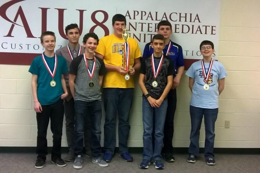 The B-A scholastic scrimmage team took first yesterday at the IU-8 headquarters in Altoona. Pictured here are Kenneth Robison, Paulino Cuevas, Owen Shaulis, Nathan Wolfe, Dan Kustaborder, Caden Nagle, and Philip Chamberlain.
