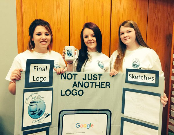 Juniors Jasmine McCoy, Alivia Halvorsen, and Kiley Neidermyer took second place at last week's tech competition at Penn State-Altoona.