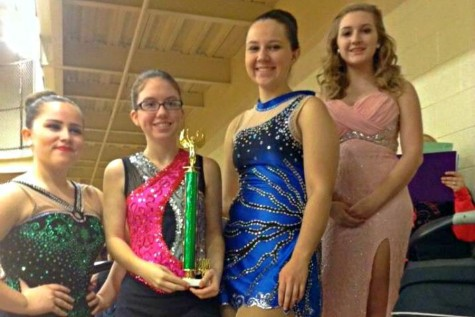 Dream Twirlers competition team members (l to r) Olivia Wilson, Anna Sloey, Mariah Reihart, and Megan Maynard at the Twirlers Unlimited competition in Altoona.
