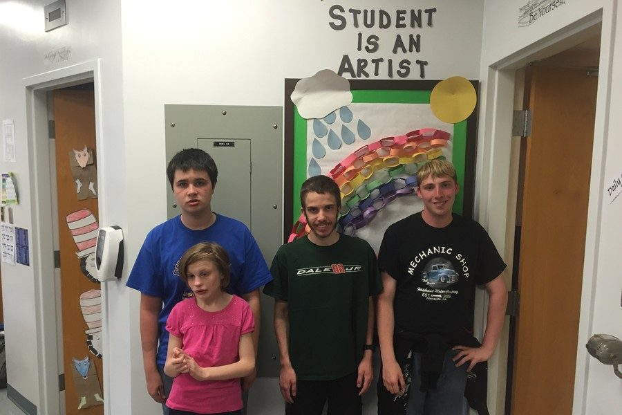 Mrs. Carson's students include (l to r): Cole Poorman, Brianna Hinkle, Jordan Bonsell, and Tyler Long. Missing was Tyler's brother Richard.