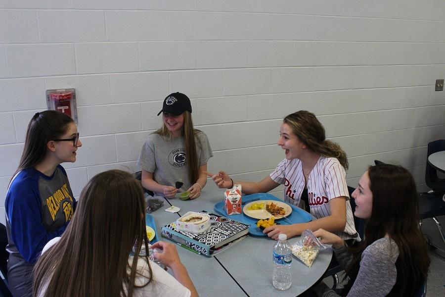 Gwen Daugherty and Riley D'Angelo helped celebrate the opening week of MLB by wearing their baseball gear to lunch on Friday.
