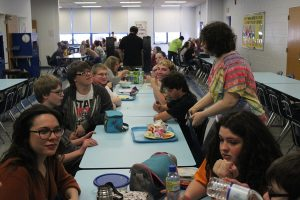 Students from the autistic support room now mix seamlessly with their peers in the lunch room everyday at lunch.