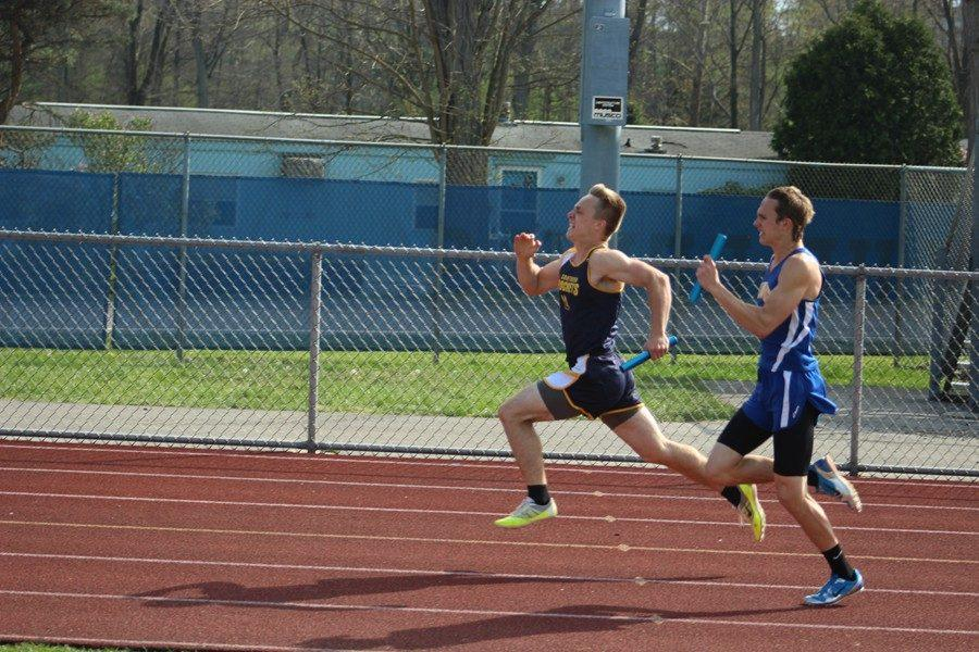 Noah D'Angelo turns on the afterburners in the 4X100 relay. D'Angelo's finish in the 4X400 relay helped BA win the meet against Southern Huntingdon.