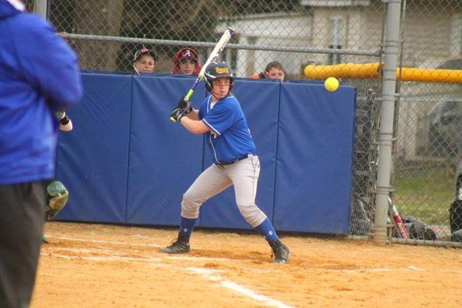 Krystina Taylor waits on a pitch against Juniata Valley yesterday. Taylor homered to punctuate a 5-run second in the Blue Devils' victory over Juniata Valley.