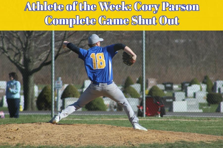 Senior Cory Parson pitching the complete game shut out against West Branch to open to season.