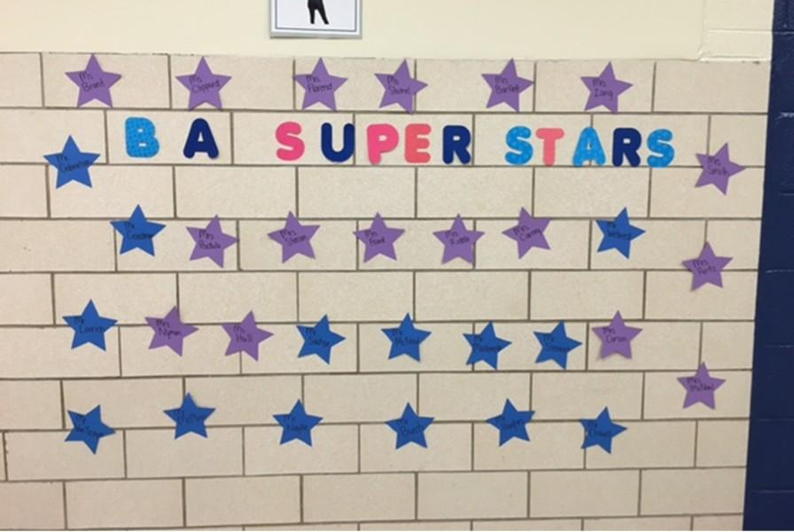 Mrs. Adams created a mural recognizing high school teachers outside of her office for Teacher Appreciation Week.