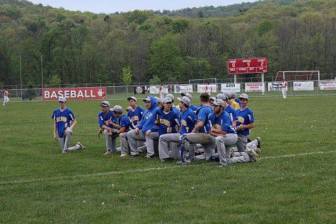 Baseball team meets after a win over Everett