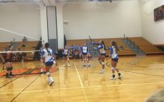 Abby Luensmann makes a play in last night's volleyball game at Tyrone.