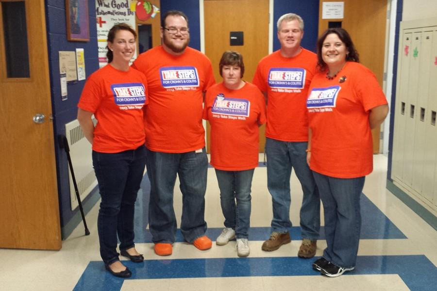Mrs. Stinson, Mr. Noy, Mrs. Padula, Mr. Partner, and Ms. Shimel wear their shirts in support of Crohn's research.