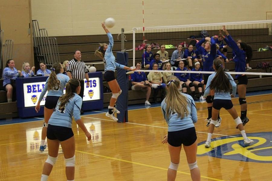 Lindsey Southwaorth goes up for a spike against Mount Union.