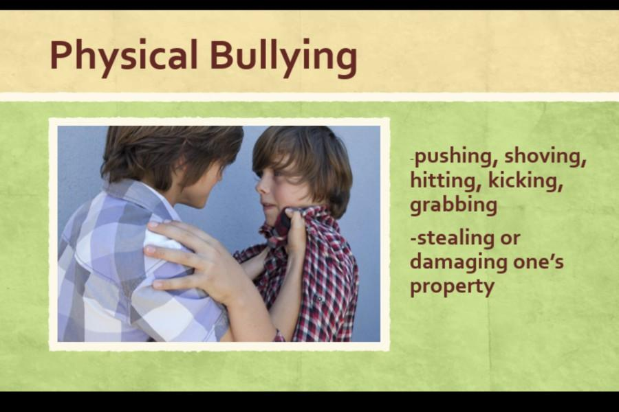 Part of the anti-bullying Power Point shown to students on the first day was a section about the four different types of bullying.