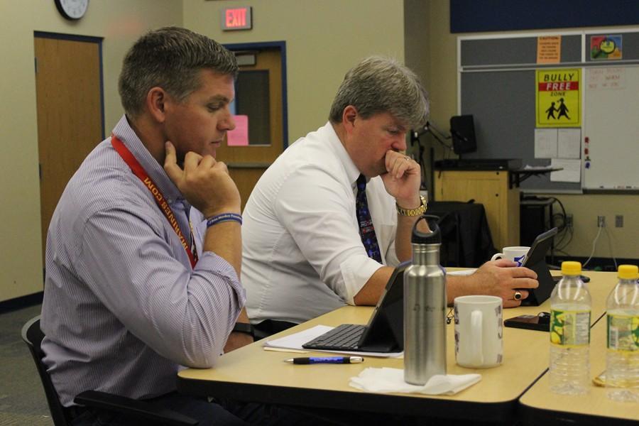 High school principal Mr. Richard Schreier and Superintendent Dr. Thomas McInroy took in three days of iPad training recently.