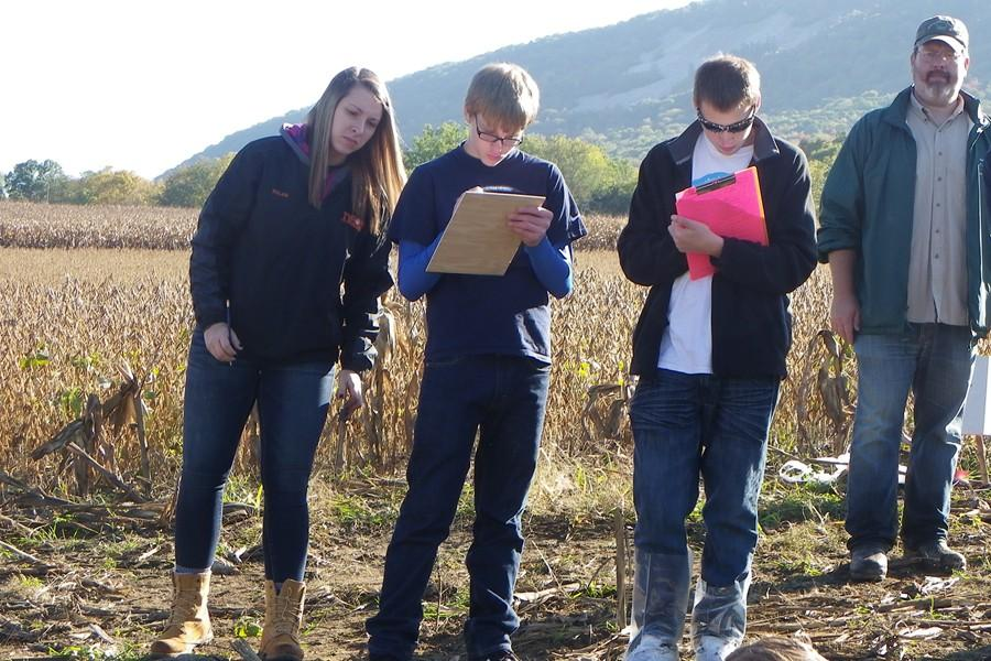 Sophomore Trevor Zimmerman grades soil at land judging.