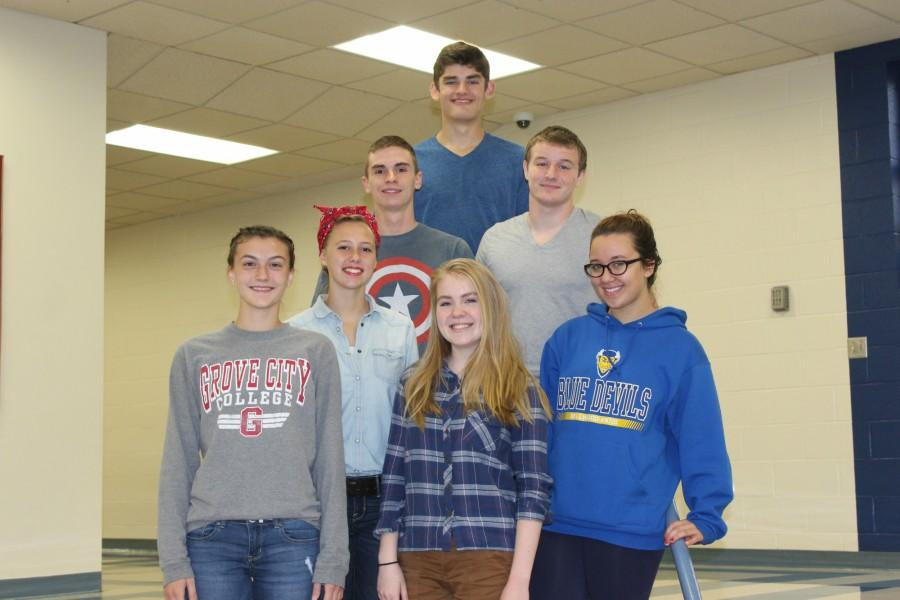 District chorus qualifiers include, girls (l to r): Stephanie Mills, Addison Clemente, Grace Misera and Hannah Hornberger; boys, middle row (l to r), Lucas Tuggy and Ryen Beam; back row, Robert VanKirk.
