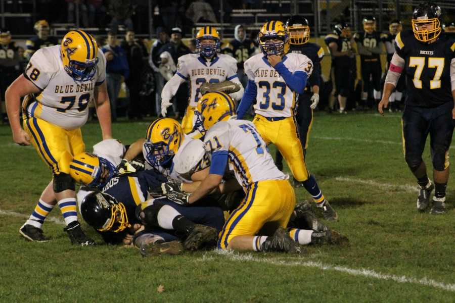 Austin Desch leads the B-A defense on a big stop against Southern Huntingdon last Friday.