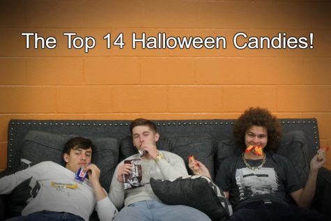 Thor Schmittle, Trevor Snyder and Hunter Taylor all enjoy a little bit of the Halloween candy.