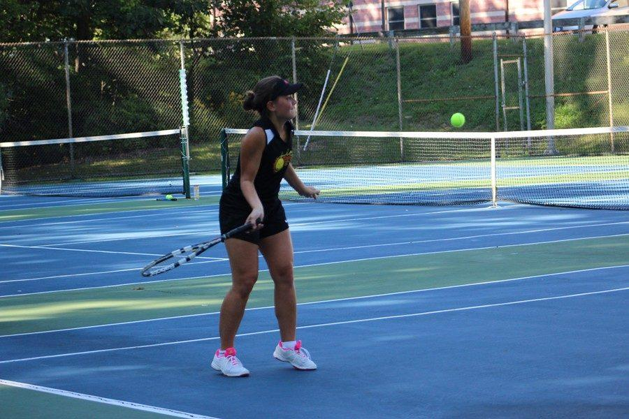 Junior Tina Hollen fell yesterday in the District 6-AA semifinals.