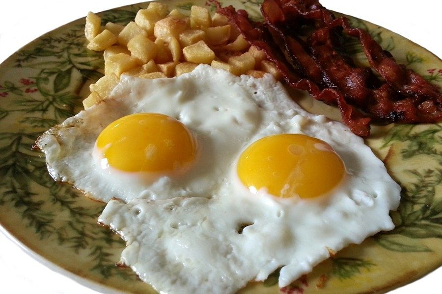 The classic bacon and eggs makes a delicious breakfast.
