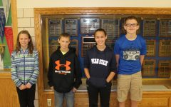From left to right, Alexis Schratzmeier, Reese Rinker, Anna Lovrich and Tyler McCaulsky were named Middle School Students of the Week.