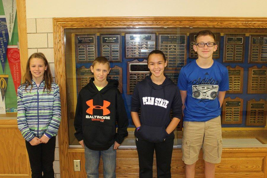 From+left+to+right%2C+Alexis+Schratzmeier%2C+Reese+Rinker%2C+Anna+Lovrich%0Aand+Tyler+McCaulsky+were+named+Middle+School+Students+of+the+Week.%0A