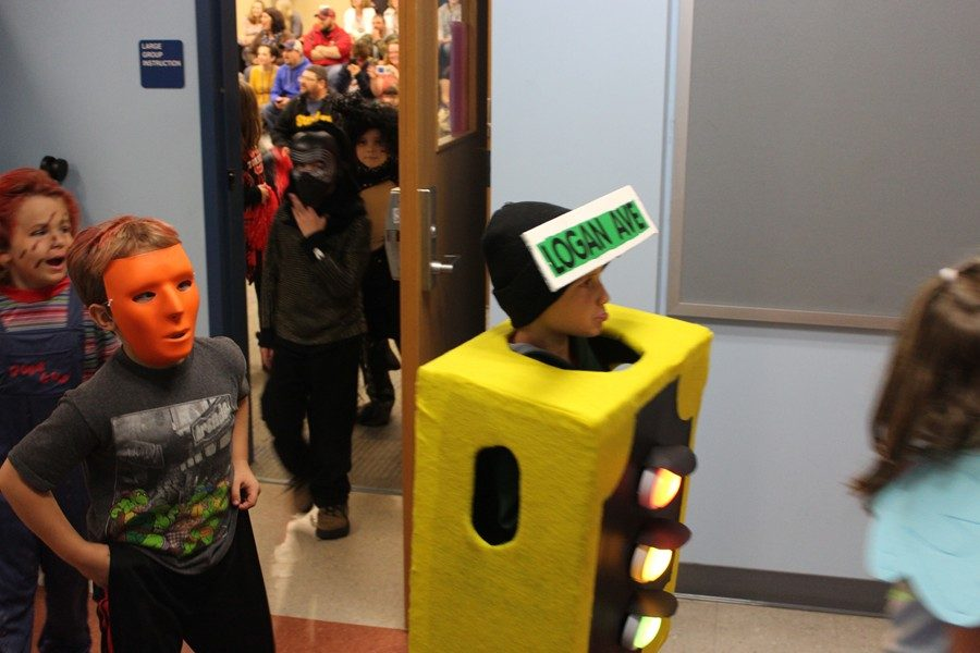 One student dressed as a traffic light.