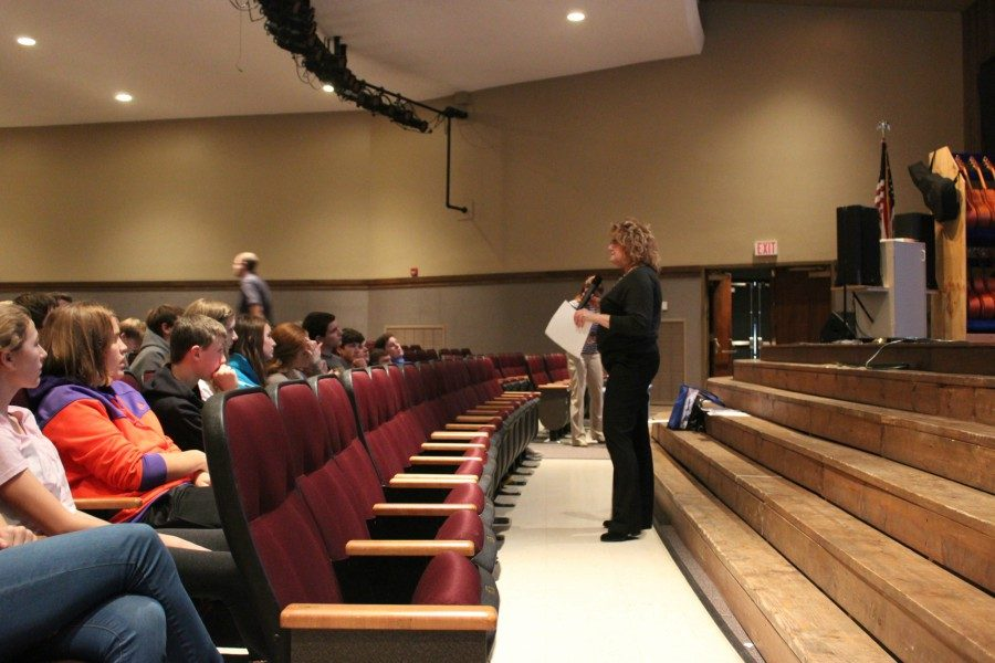 The Freshman Class listens intently to Mrs. Swales talk about various CTC opportunities.