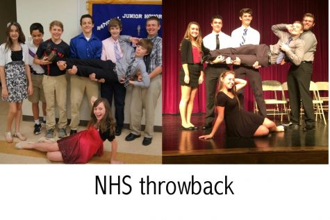 NHS junior inductees tried to hit the same pose they used as wide-eyed junior high students at the middle school Honor Society inductions.