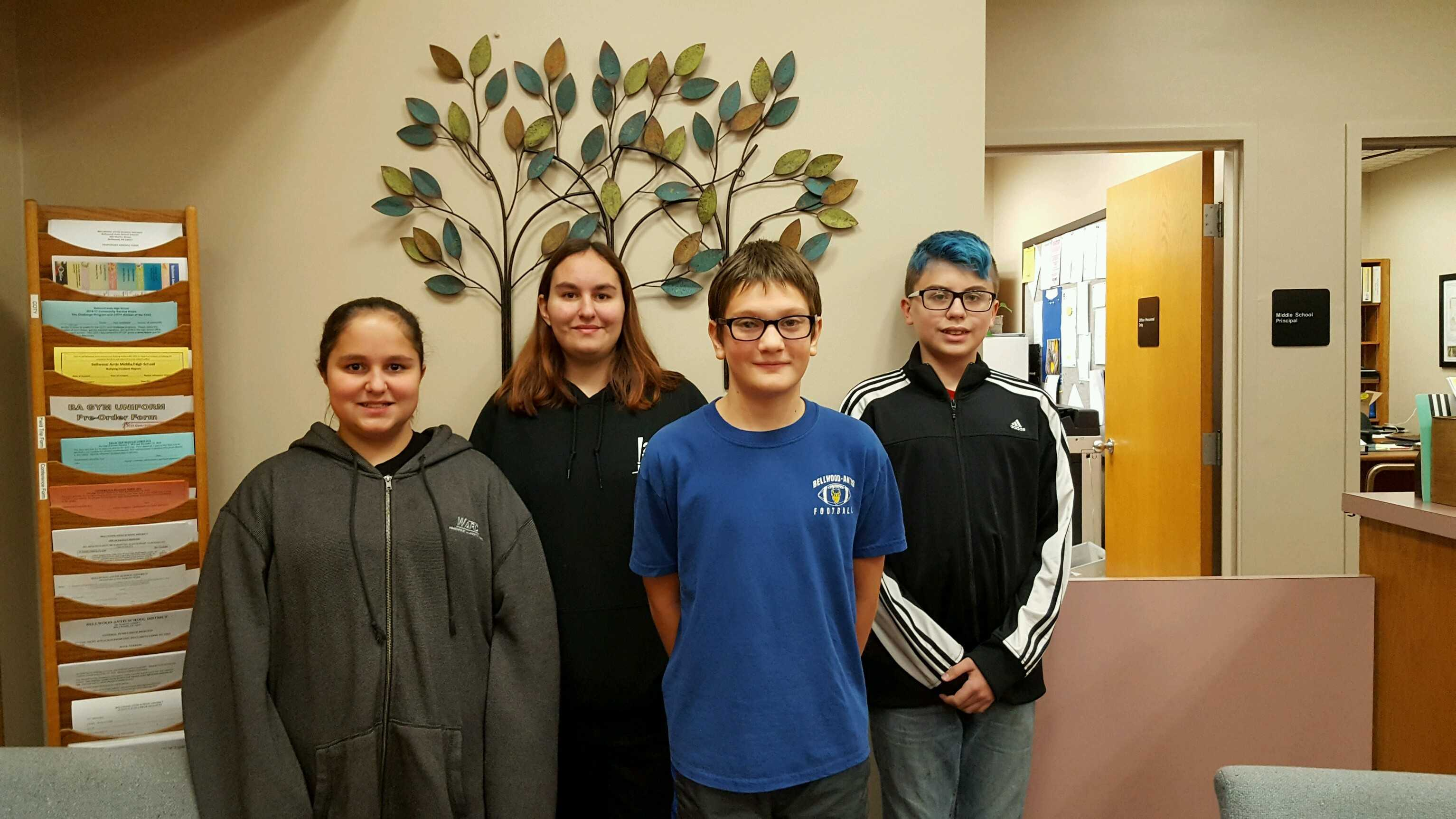 Middle School Students of the Week this week are (l to r): Middison Cassidy, Halee Cassidy, Corigan Shanafelt and Jack Gordon.