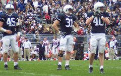 The most dramatic change in Penn State's classic uniforms came in  2011 when they decided to switch from white collars to navy blue collars.