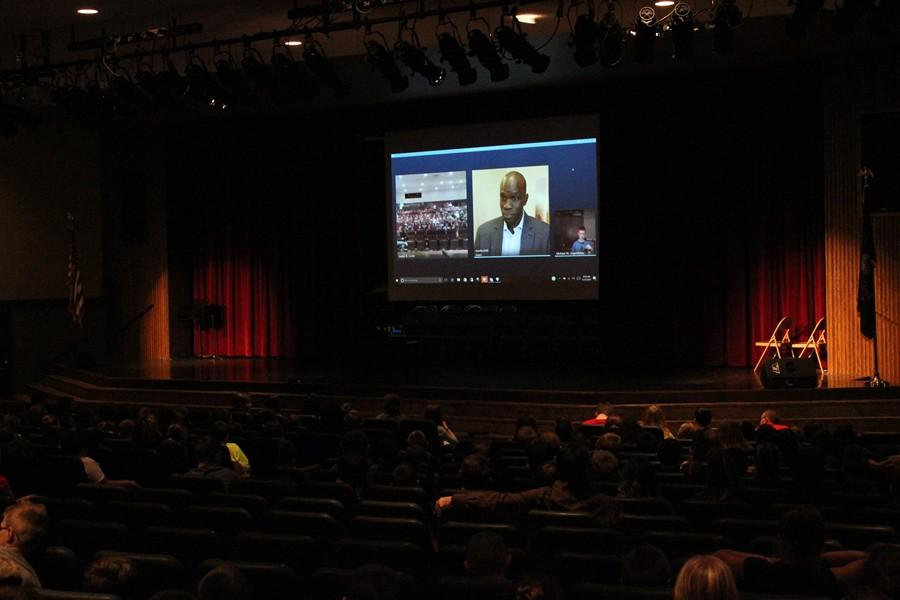 B-A students in grades 4-7 gathered in the auditorium to communicate with Salva Dut via Skype.
