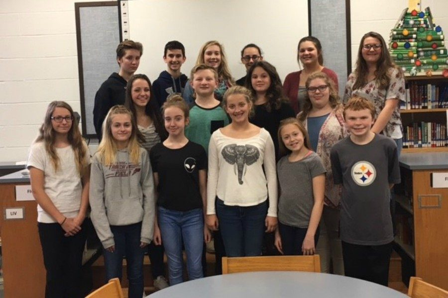 Junior high speech place-winners include, front row (l to r): Madison Otto, Riley Endress, Haley Campbell, Jaylee Shuke, Jayce Miller, and Ethan Brown. Middle row (to to r) Caroline Nagle, Hunter Gregg, Kami O'Shell, and Alexandra Diamond. Back row (lot to r): Emma Corradoo, Caeden Poe, Maddison Boyer, Dakota Woomer, Caylee Anne Taylor, and Lauren Young. Missong was Sophie Nelson.