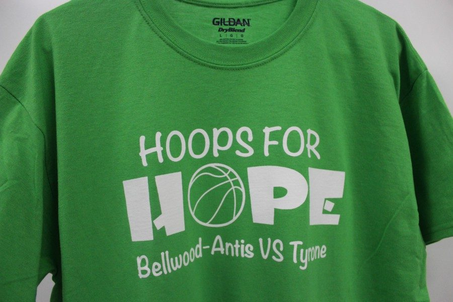 The basketball boosters are selling these t-shirts to support Blair Hope for Families.
