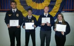 Tom Whiteford, Mike Cherry, Noah Schratzmeier and Abie Boutelier received their Keystone Awards at the PA Farm how.