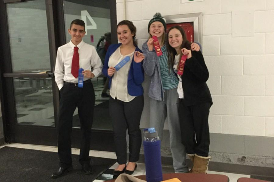 (L to r): Dan Kustaborder and Hannah Hornberger won first in their speech categories at Blacklick Valley, while Jenna Bartlett and Alivia Jacobs took second in duo.