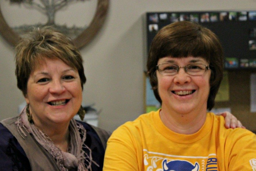 Mrs. LuAnn Shoop and Mrs. Amy Chamberlain make sure the high school/middle school office runs smoothly.