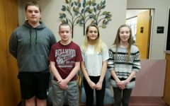 This week's middle school Students of the Week are: (l to r)                 Jacob Hawn, Brandon Cherry, Riley Endress, and Reagan Boyer.