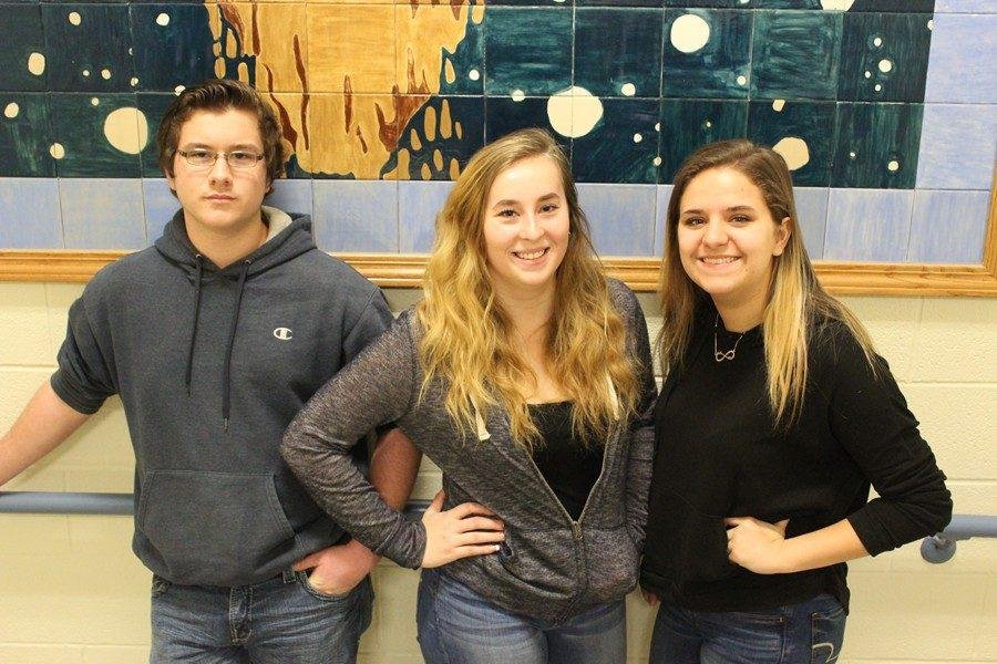 (L to r): Aaron Miller, Adoria Kline, and Alexis Kensinger all advanced to the state SkillsUSA competition. Missing form the photo are B-A's other two representatives at states, Brett Tipton and Duke Brunner.