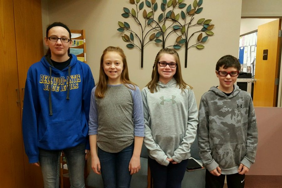 This week's middle school Students of the Week are (l to r): Harley Stunk, Jayce Miller, Alyson Partner, and Anthony Caracciolo.